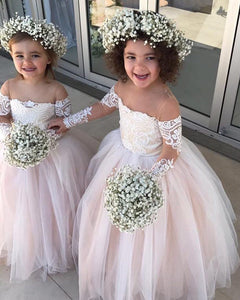 Vintage Long Sleeves lace Tulle Flower Girl Dresses little Girls Child Party Dresses