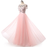 2018 New Pink Long Prom Dress for Girls Party Gown with Crystal Short Sleeves