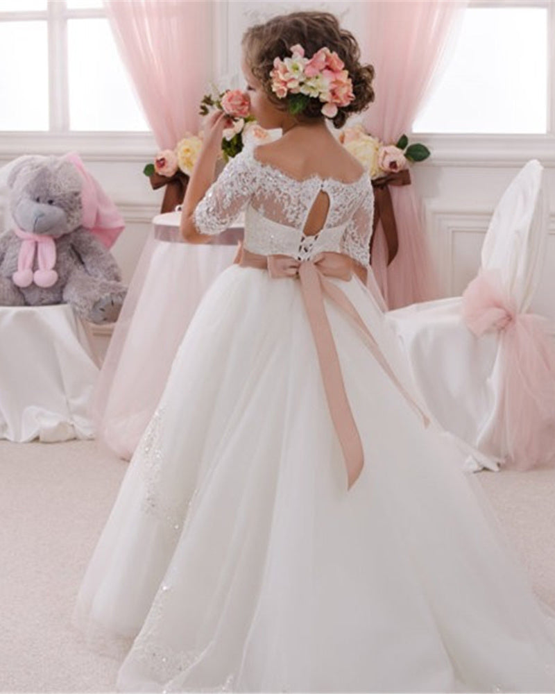 0bc860297 ... Sweet Short Sleeves A Line Lace Flower Girl Dress Little Girls First  Communion Gown SP032 ...