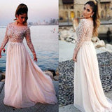 Siaoryne LP0903 Pink Chiffon Long Sleeves Beading Long evening Dresses Formal Prom Gowns