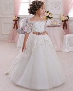 9dee3b8d8 Sweet Short Sleeves A Line Lace Flower Girl Dress Little Girls First  Communion Gown SP032