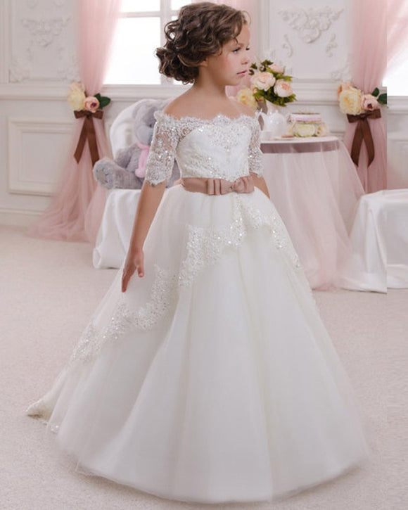Sweet Short Sleeves A Line Lace Flower Girl Dress Little Girls First Communion Gown SP032