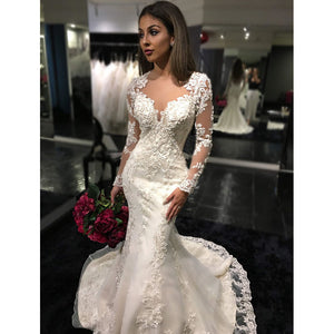 df4b958fe409 High Quality Cheap Price Women Lace Wedding Dress with Long Sleeves Mermaid  Bridal Gown WD214