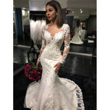 High Quality Cheap Price Women Lace Wedding Dress with Long Sleeves Mermaid Bridal Gown WD214