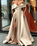 Off the Shoulder Champagne Long Evening Dresses with Slit Vestido PL645