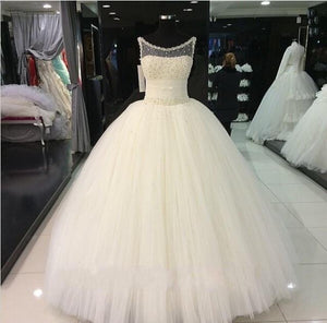 Siaoryne Scoop Neck Ball Gown Pearl Wedding Dresse Princess Custom Made Novias De Novia 2018