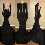 Long Sleeves Black Fitting Evening Gown for Prom Party Dress Longo vestidos  De Festa LP662