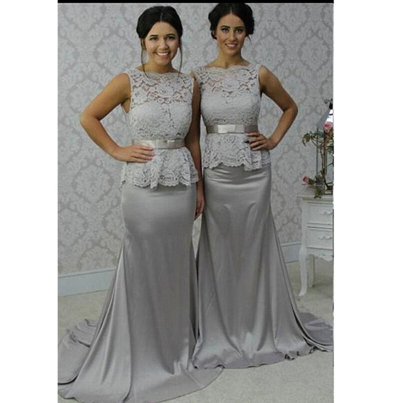 Grey Lace and Satin Boat neckline Mermaid Long 2018 Bridesmaid Dresses