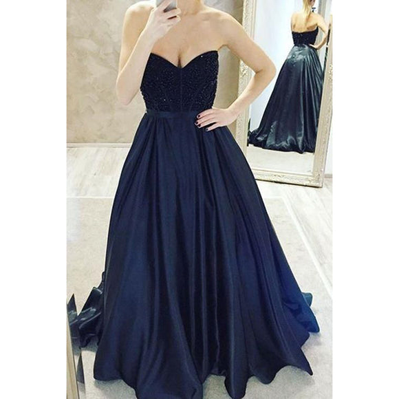 Trendiest Sweetheart Navy A Line Prom Dresses Beaded ,Long formal Dresses 2017,Girls Evening party Gowns