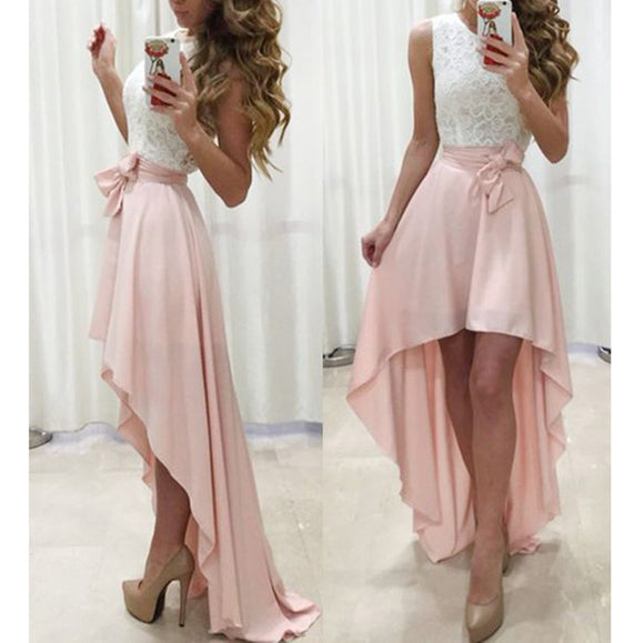 LP3655 White and Pink High Low Prom Dress Girls Semi Formal Gown Party Dress 2018