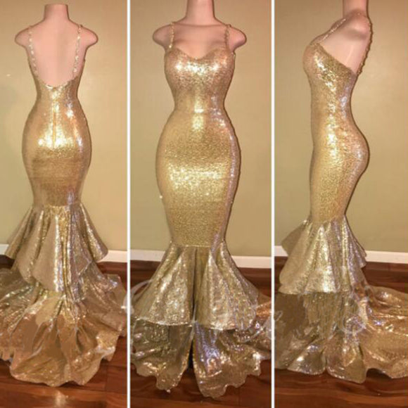 New Spaghetti Straps Gold Sequin Mermaid Prom Dress Evening Party Long Gown Vestido