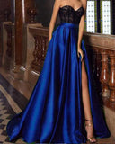 Green/Red /Blue Long Sweetheart Prom Evening Dresses 2019 with Black Lace
