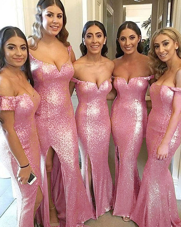 Pink Sequined Long Women Formal Bridesmaid Dresses Mermaid Long Slit PL954