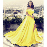 Elegant Sky Blue Prom Dress A Line Satin Long Formal Evening Gown with Slit LP716