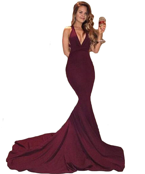 Siaoryne LP0831 Burgundy Mermaid halter Long Prom Dress Sexy Women Evening Party Gown 2018