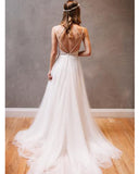 Siaoryne WD0823 Sexy Spaghetti Straps Long Beach Wedding Dresses lace Boho Bridal Dresses