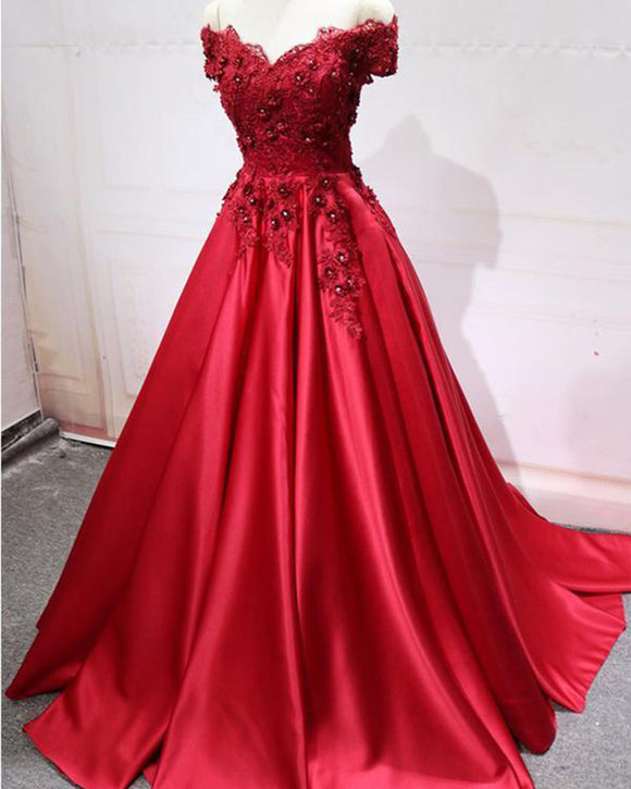 Red Wedding Dress Ball Gown Reception Women Formal Evening Party Gown PL8674
