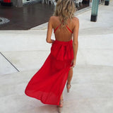 Trendy Long Spaghetti Chiffon Slit Red Dresses Women Formal Evening Gown vestido longo