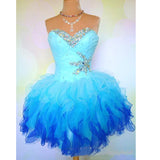 Siaoryne LP1004 Sweetheart Two Tunes Homecoming Dresses Short Cocktail Gown with Beading Custom Made