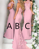 Chic Pink Wedding Party Gown Mermaid Long Bridesmaid Dress With Lace PL123
