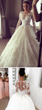 Luxury Lace Ball Gown Wedding Dress Vintage Bridal Gown with Long Sleeves WD301