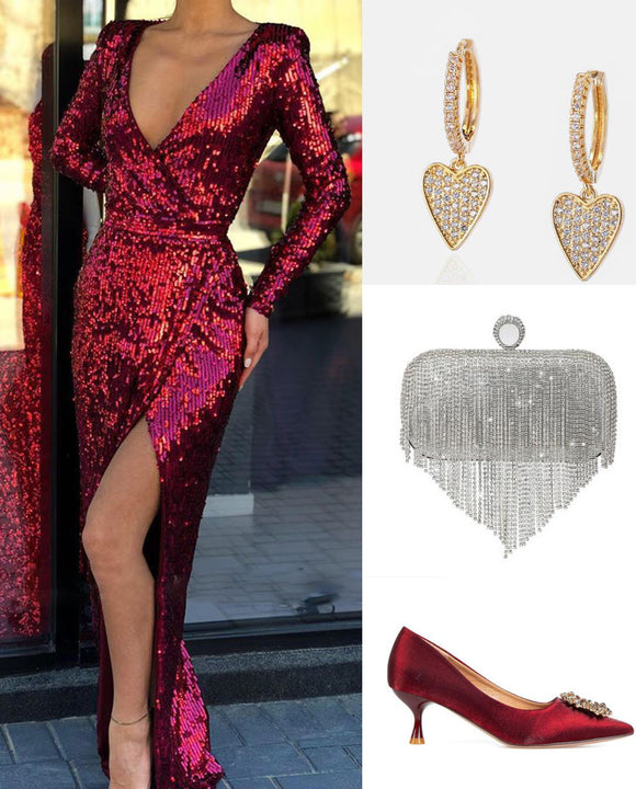 Burgundy Long Sleeves Bling Bling Sequins Party Prom Dress for Women Outfits PL01225