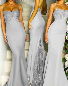 Gray Long Mermaid Bridesmaid  Party Dresses Appliqued Lace Long with Spaghetti Straps PL457