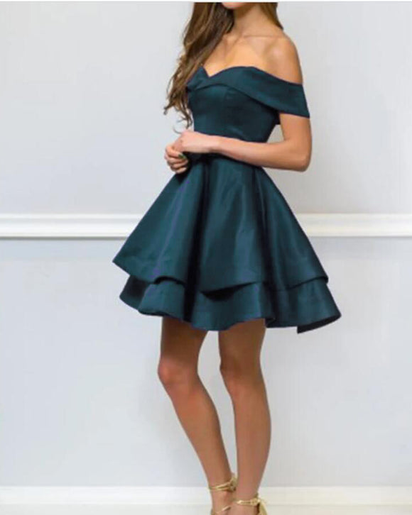 Teal Color Cute Junior Girls Short Homecoming Dress Off Shoulder Party Prom Gown PL05051