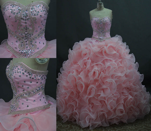 Siaoryne LP015 Sweetheart Two Pieces Ball Gown Quinceanera Dress ,Pink Puffy Organza Prom Dress for Sweet 15 birthday party debutante Gown