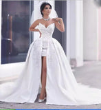 sweetheart Sexy High Low Lace Wedding dress A Line Front Short Long Back Bridal Gowns Roabe De Mariee