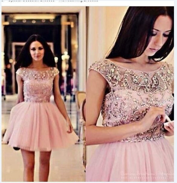 Siaoryne Tulle Pink Short Beading Prom Dress Short Homecoming Dresses Semi Formal gowns