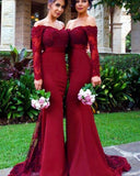 Vintage Women Burgundy Bridesmaid Dress with Long Sleeves for Wedding Party PL6630