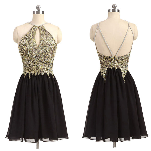 Gold and Black Homecoming Dress Lace Appliqued Short Graduation Gown ,Halter Hoco Dresses,Little Black Dresses,Short Prom Dresses