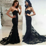 LP6983 Breathtaking Sweetheart Black Mermaid Lace Evening Gown robe de soiree longue  2018 Formal Party Dresses