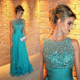 Siaoryne Boat Neck Long Chiffon Evening Gowns Crystal Beaded Prom Dresses