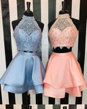 Beautiful Short Party Dress Two Pieces Blue Homecoming Dress for 8th Grade Students