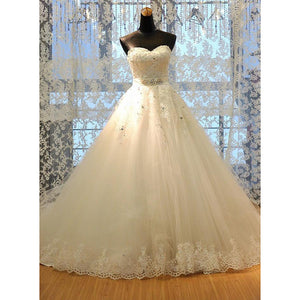 Custom Made Classic Lace A Line Wedding Dress Sweetheart Bridal Dress Lace 2019
