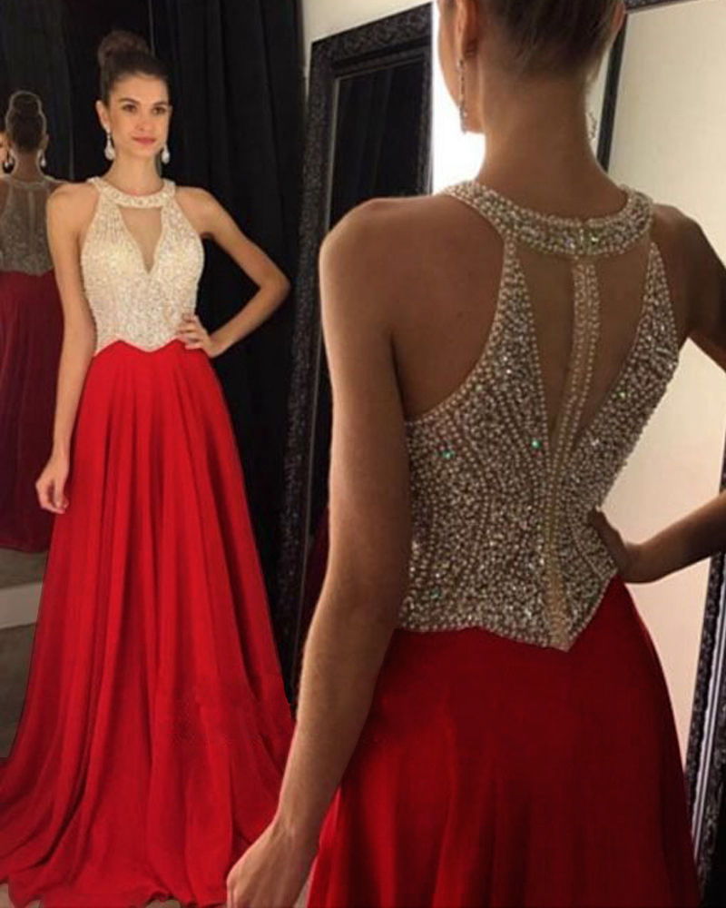 641f521eca ... Siaoryne LP0919 Halter Beading Prom Dress with Beading Blue Red Black  Long Formal party ...