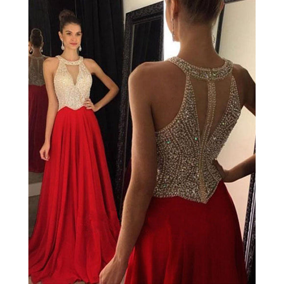 Siaoryne LP0919 Halter Beading Prom Dress with Beading Blue/Red/Black Long Formal party Dresses Long