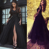 Black Lace Long Sleeves Prom Dresses with Sexy Split Evening Formal Gown Vestido De Festa 2020