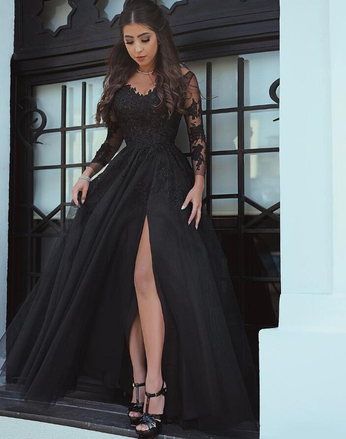 e560f9ae996 ... Black Lace Long Sleeves Prom Dresses with Sexy Split Evening Formal Gown  Vestido De Festa 2018 ...