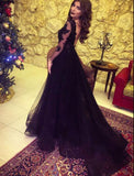 Black Lace Long Sleeves Prom Dresses with Sexy Split Evening Formal Gown Vestido De Festa 2018