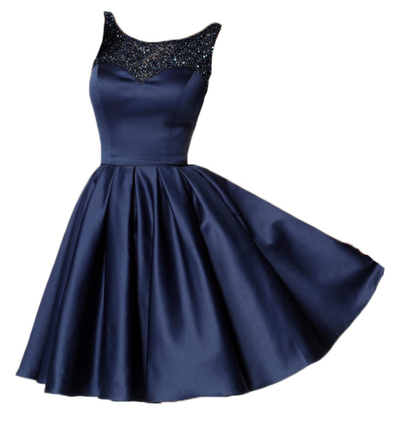 Siaoryne Scoop Neck Short Beading satin A Line Homecoming Dress