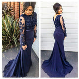 Siaoryne women Navy Blue Long Sleeves Mermaid Prom Dresses Lace Beadinng Formal Evening Dresses