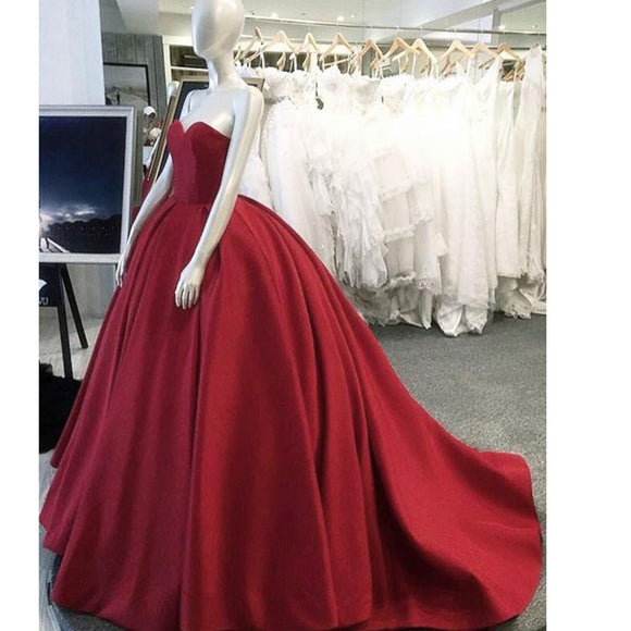Siaoryne Ball Gown Satin Red Wedding Dresses Corset Sweetheart Formal  Gowns