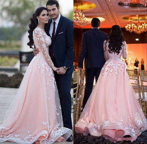 Siaoryne WD0919 Long Sleeves Lace Pink Wedding Dresses Bridal Gown