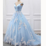 Dreamy Off the Shoulder Blue and White Lace A Line 2018 Women Prom Dress Formal Gown vestido festa