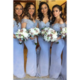 Off the Shoulder Lace Lavender Bridesmaid Dresses Mermaid Woman formal gowns