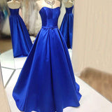 Siaoryne LP036 Satin Royal Blue Prom Dress Long Formal Gowns for Women evening gown