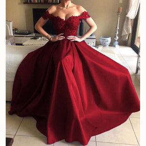 New A Line Satin Lace Red Long Dress Women Formal Evening Gown robe de soiree longue